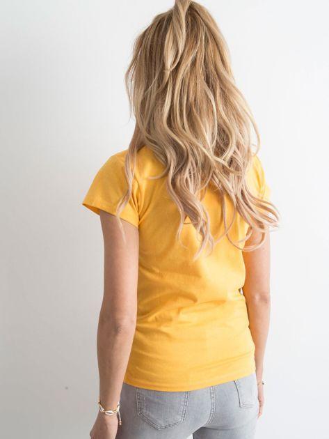 Żółta damska koszulka z napisem                              zdj.                              2