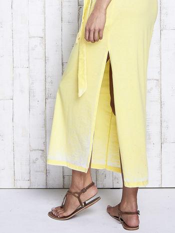 Żółta dekatyzowana sukienka maxi na gumkę                                  zdj.                                  6