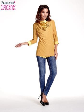 Żółta dwuwarstwowa koszula z rękawem 3/4                                  zdj.                                  4