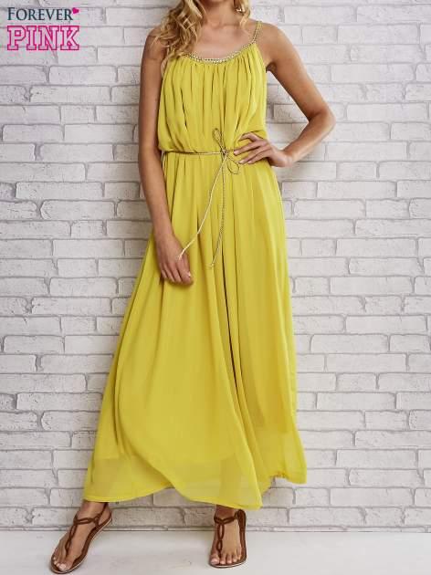 Żółta grecka sukienka maxi ze złotym paskiem