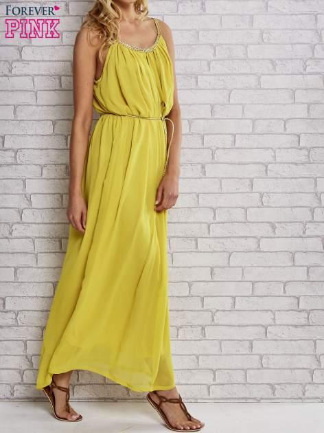 Żółta grecka sukienka maxi ze złotym paskiem                                  zdj.                                  3