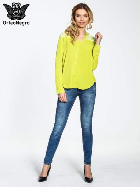 Żółta koszula damska z haftem na ramionach                                  zdj.                                  2
