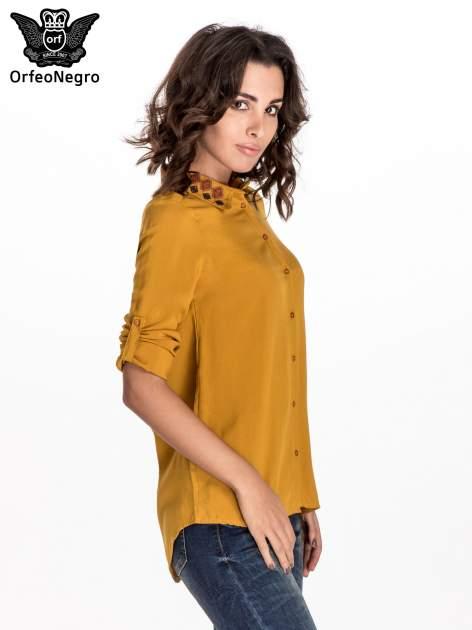 Zółta koszula z haftowanym kołnierzykiem                                  zdj.                                  4