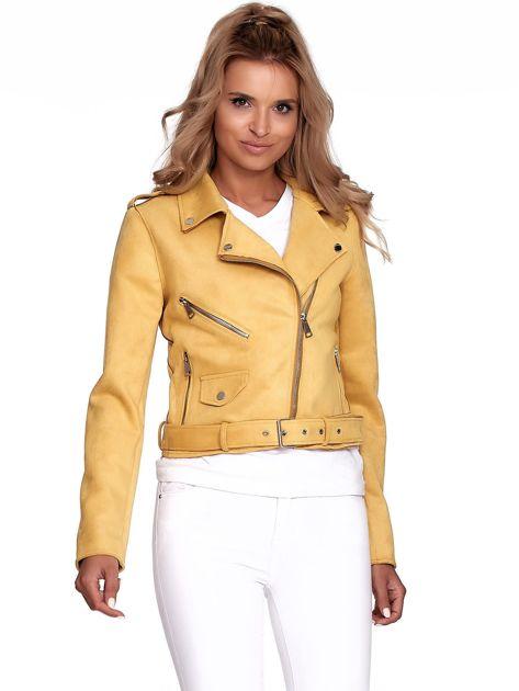 Żółta kurtka ramoneska z suwakami                              zdj.                              4