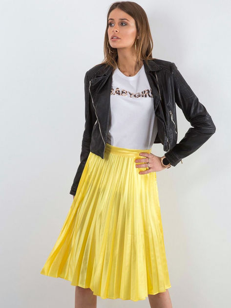 Żółta plisowana spódnica midi