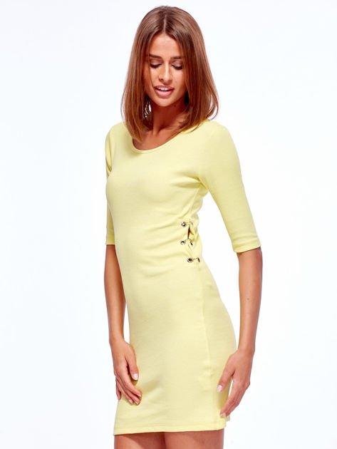 Żółta prążkowana sukienka z kółeczkami                               zdj.                              5