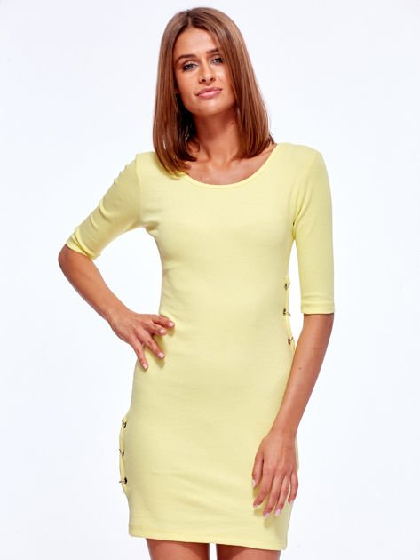 Żółta prążkowana sukienka z kółeczkami                               zdj.                              1