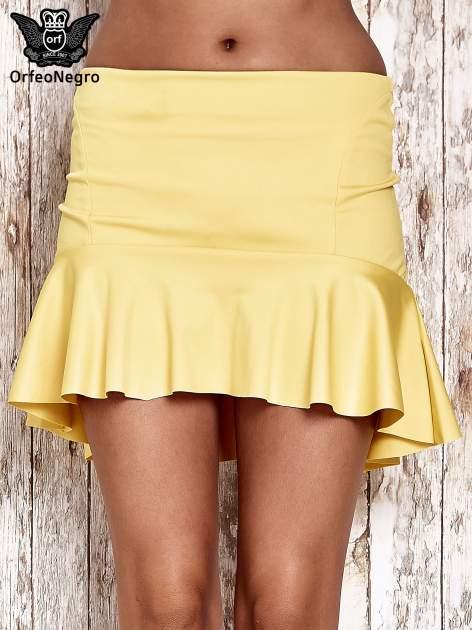 Żólta spódnica mini z falbanką