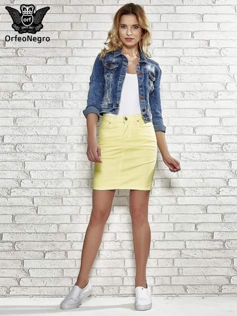 Żółta spódnica z zapięciem na guzik                                  zdj.                                  2