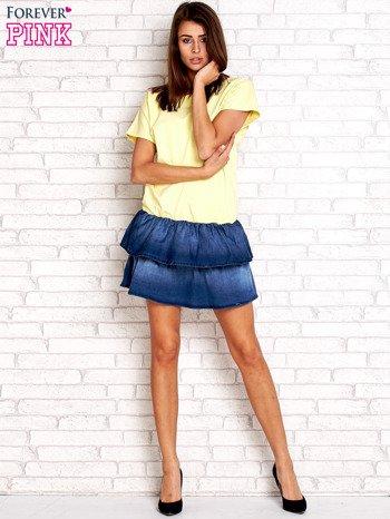 Żółta sukienka dresowa z jeansowym dołem                                  zdj.                                  4