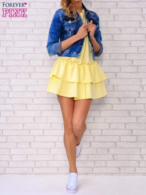 Żółta sukienka dresowa z podwójną falbaną                                  zdj.                                  2