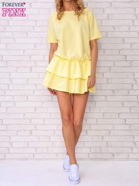 Żółta sukienka dresowa z podwójną falbaną                                  zdj.                                  5