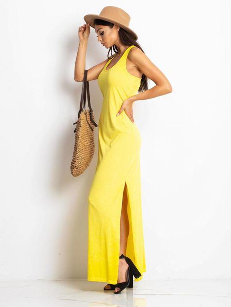 Żółta sukienka maxi z efektem sprania                                  zdj.                                  3