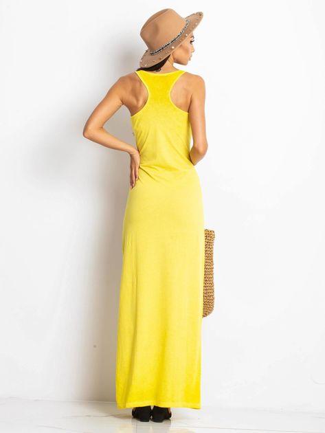 Żółta sukienka maxi z efektem sprania                                  zdj.                                  2