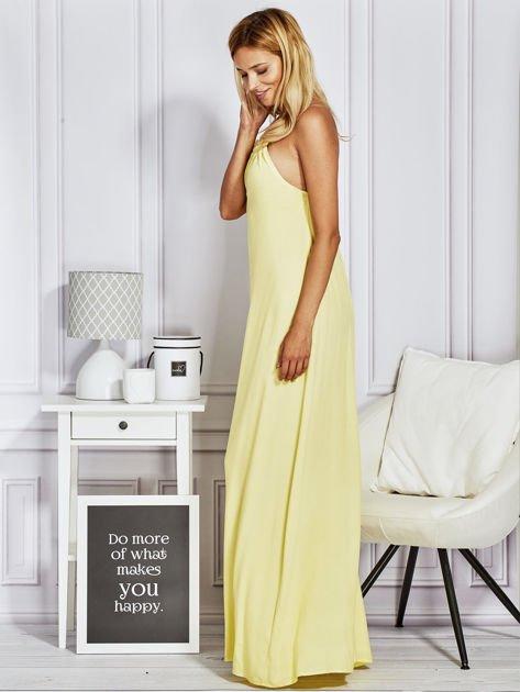 Żółta sukienka maxi z wiązaniem na szyi