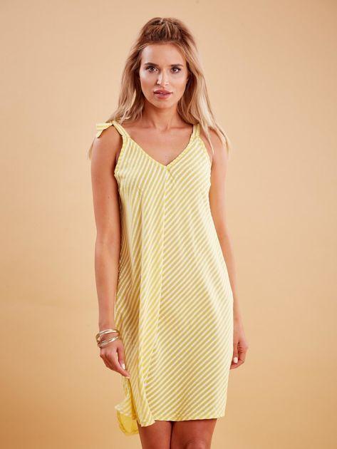 Żółta sukienka w paski wiązana na ramionach                              zdj.                              1