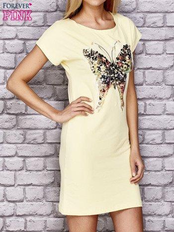 Żółta sukienka z cekinowym motylem                                  zdj.                                  3