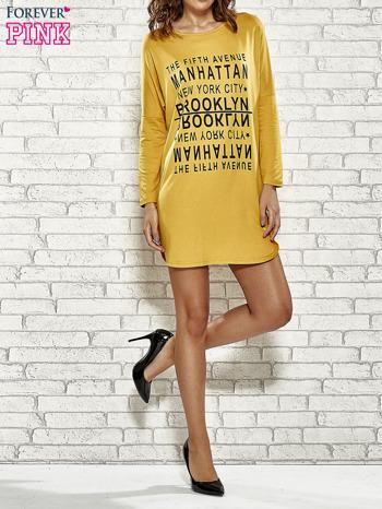 Żółta sukienka z napisem NEW YORK CITY                                  zdj.                                  4