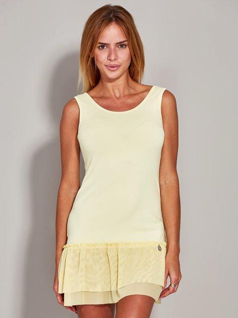 Żółta sukienka z tiulową falbaną                              zdj.                              3