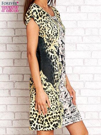 Żółta sukienka z tygrysim nadrukiem                                  zdj.                                  3