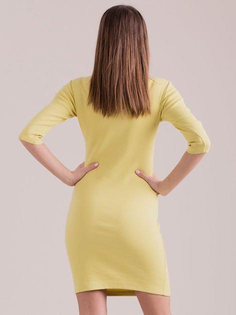 Żółta sznurowana sukienka w prążek                              zdj.                              2