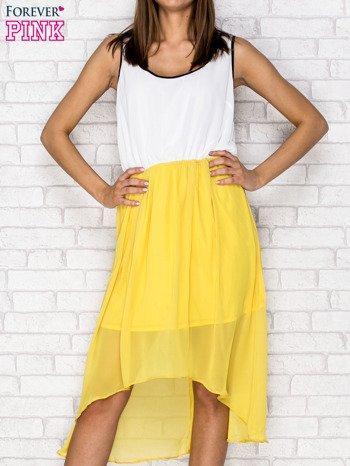 Żółta tiulowa sukienka z krzyżowanymi plecami