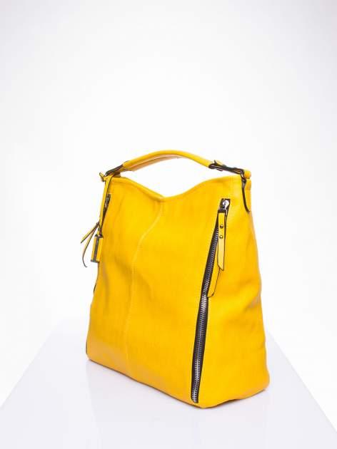 Żółta torba hobo z suwakami po bokach                                  zdj.                                  3