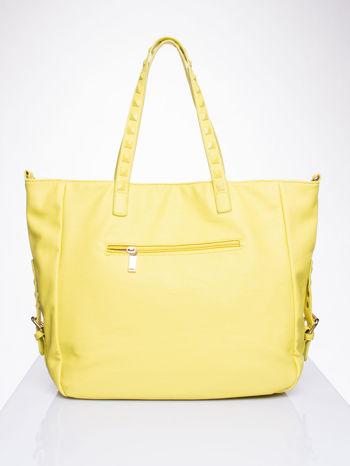 Żółta torba shopper z kolorowymi ćwiekami                                  zdj.                                  2