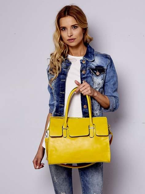Żółta torebka teczka z klapką                                  zdj.                                  6