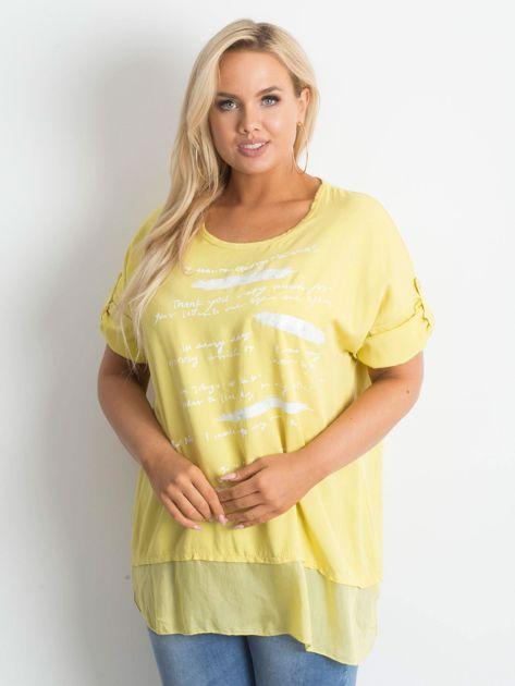 Żółta tunika plus size z nadrukiem                              zdj.                              1