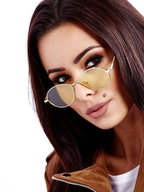 Żółte Metalowe Owalne Okulary Unisex                              zdj.                              6
