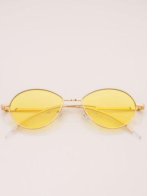 Żółte Metalowe Owalne Okulary Unisex                              zdj.                              4
