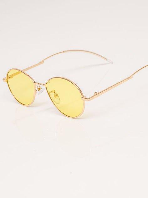 Żółte Metalowe Owalne Okulary Unisex                              zdj.                              3