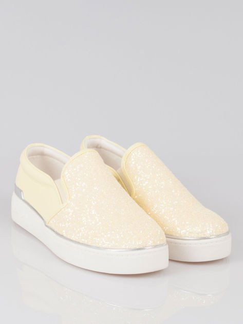 Żółte buty sliponki glitter                                  zdj.                                  2