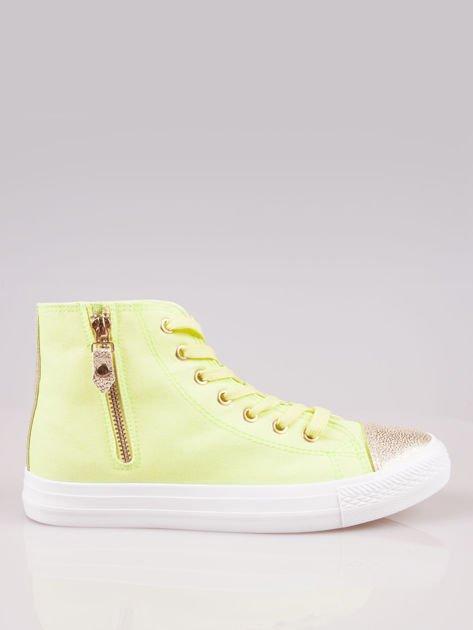 Żółte sneakersy gold cap toe z suwakiem z boku