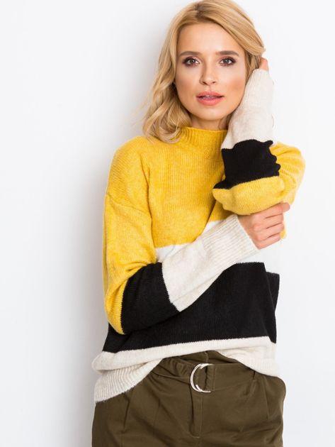 Żółto-biały sweter Denise                              zdj.                              1