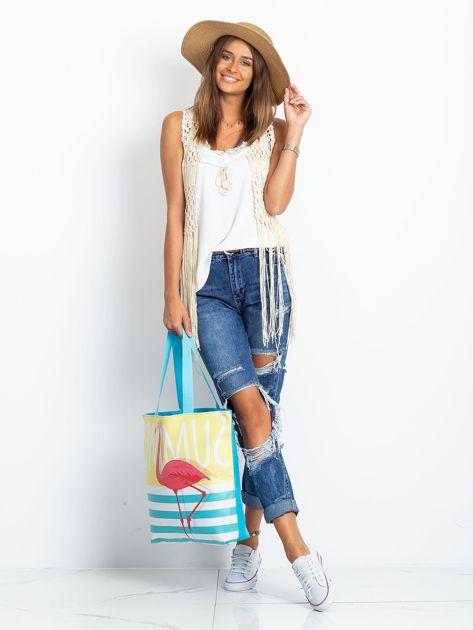 Żółto-niebieska torba z flamingiem                              zdj.                              6