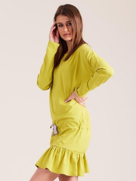 Żółto-zielona sukienka oversize z falbaną                              zdj.                              3