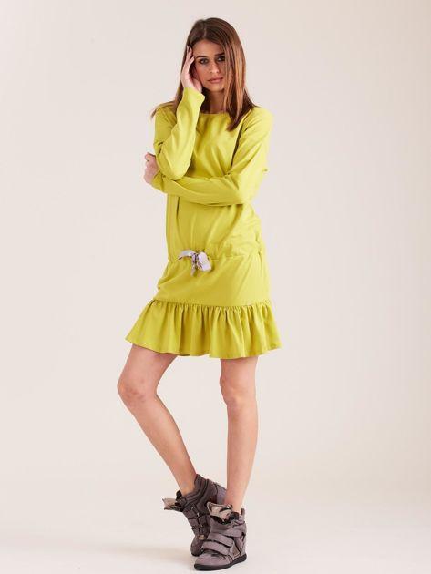 Żółto-zielona sukienka oversize z falbaną                              zdj.                              4