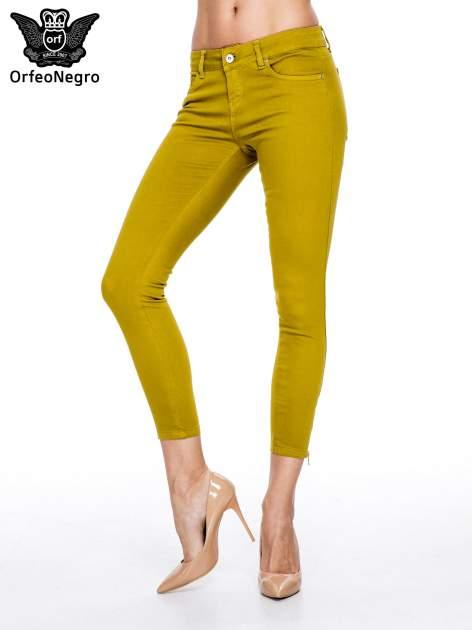 Żółtobrązowe spodnie typu skinny z elastycznego materiału                                  zdj.                                  1