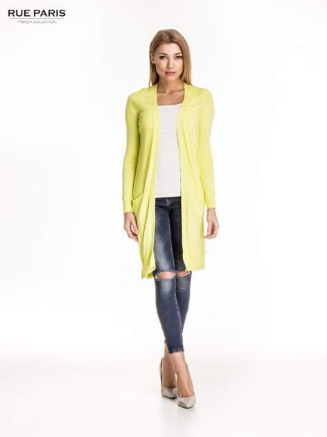 Żółty długi sweter kardigan z rozporkami                                  zdj.                                  5