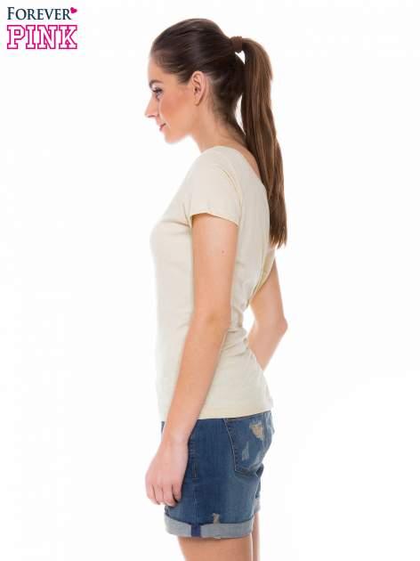 Żółty gładki t-shirt z marszczeniem z tyłu                                  zdj.                                  2