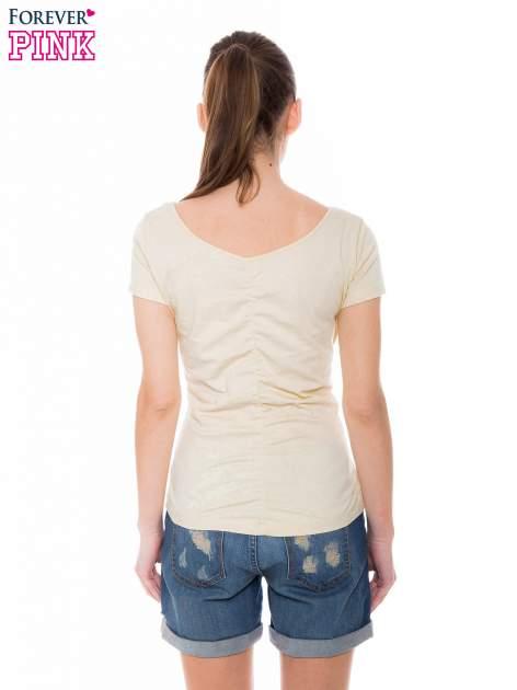 Żółty gładki t-shirt z marszczeniem z tyłu                                  zdj.                                  3