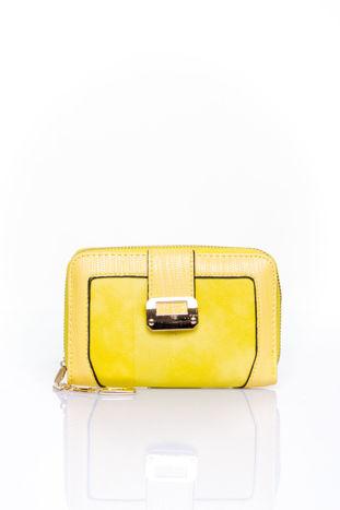 Żółty portfel z ozdobną złotą klamrą                                  zdj.                                  1