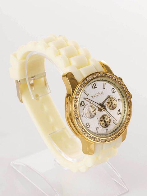 Żółty silikonowy zegarek damski                              zdj.                              2