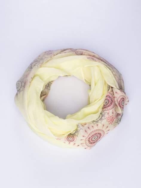Żółty szal w orientalny wzór w kółka                                  zdj.                                  1