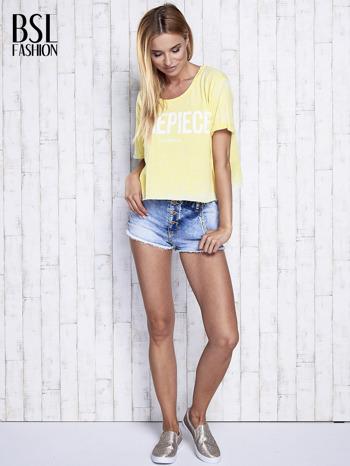 Żółty t-shirt cropped DIMEPIECE                                  zdj.                                  4