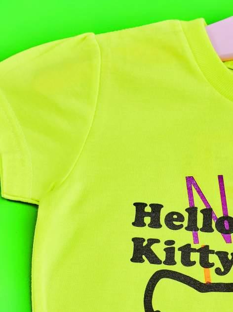 Żółty t-shirt dla dziewczynki HELLO KITTY z gwiadkami                                  zdj.                                  3