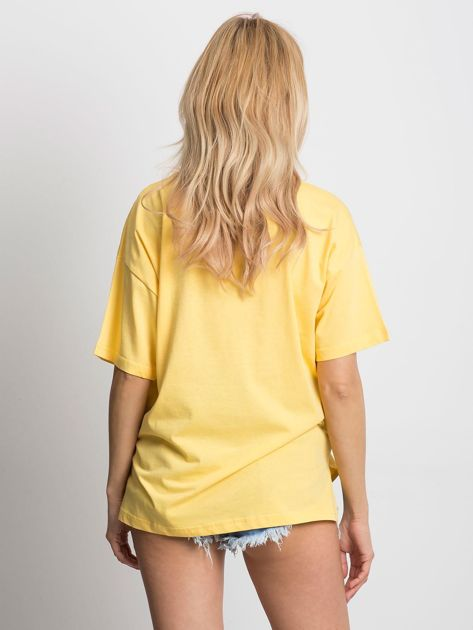 Żółty t-shirt o luźnym kroju                              zdj.                              5