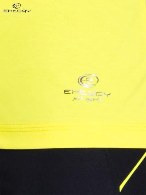 Żółty t-shirt sportowy z kieszonką na suwak PLUS SIZE                                  zdj.                                  4